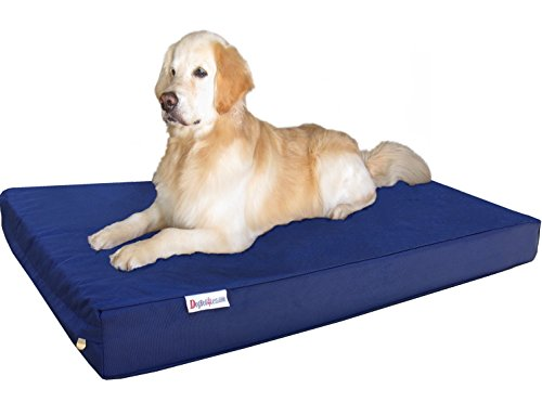 Dogbed4less Durable XXL Extra Large Gel Memory Foam Dog Bed with 1680 Nylon Blue Cover and Waterproof Liner with Bonus Cover, 55X37X4 Inch