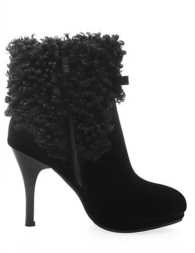 Negro Rojo eu39 red eu39 Zapatos black 5 uk3 us8 red de us5 uk6 mujer uk6 cn35 5 Tacón eu36 us8 Vestido Botines cn39 XZZ Vellón Stiletto cn39 Puntiagudos Botas PvqHwTTd6