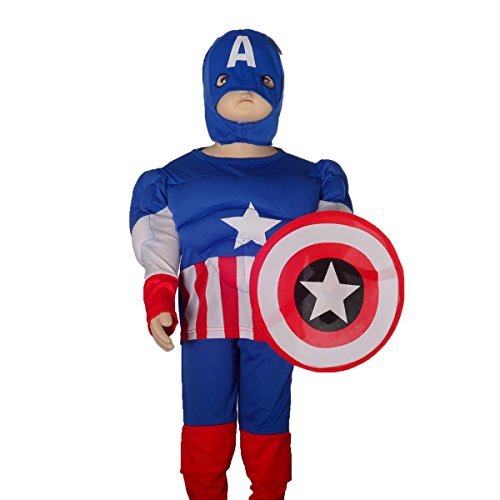 Dressy Daisy Boys' Muscle Captain America Superhero Fancy Set Costume Shield Mask Size 3T-4T (Kids Captain America Costume With Shield)