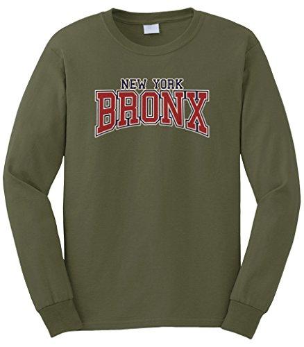 Cybertela Men's New York NY Bronx Long Sleeve T-Shirt (Olive Green, X-Large)
