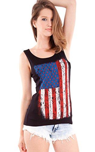 Ladies American Flag Print Black Scoop Neck Tank - Tank Flag American Tops