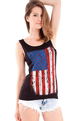 Ladies American Flag Print Black Scoop Neck Tank - Flag Top Usa Tank