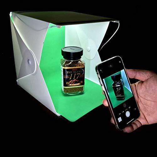 Mini Caja De Luz Portátil Para Estudio Fotográfica,Con 2 Tiras de LED Luces Blancas 6000K Incorporadas Y 3 Colores Fondos...