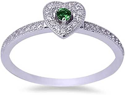 Simulated Green Emerald & Cubic Zirconia Heart .925 Sterling Silver Ring Sizes 5-9