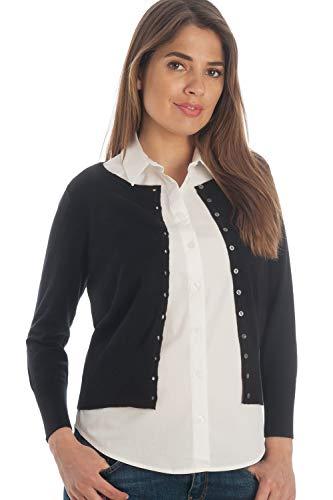 Adorawool Womens Cardigan Sweater Luxury Silk & Cotton Button Down Cropped Crew 3/4 Sleeve - Black - Size Medium