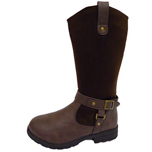 Mädchen Kinder Flache Braune Reißverschluss Hoch Winter Reiten Kniehoch Schuhgrößen 13-6