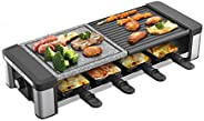 GIVENEU Raclette Table Grill, 1200W Electric Table Grill with Natural Cooking Grill Stone, Non-Stick Reversibl