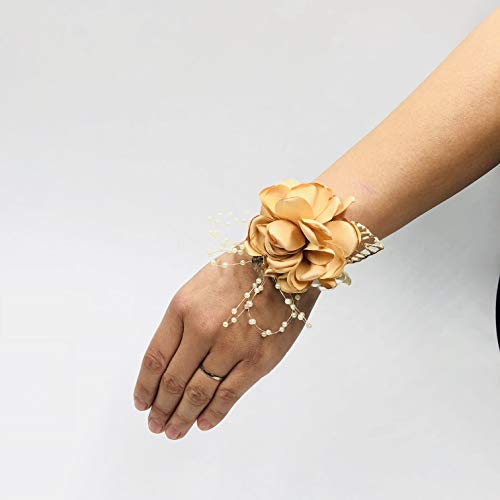 Abbie Home Decent Wrist Corsage for Prom Party Wedding Ball Event Silk Rose Rhinestone Hand Flower Classic Pearl Bracelet (Champagne)