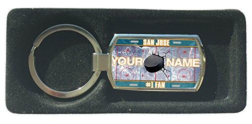 (BleuReign(TM) Personalized Custom Name Hockey Team License Plate San Jose Metal Keychain)