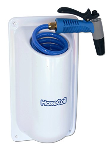 HoseCoil Side Mount Enclosure with 15' High Performance RV, Boat and Garden Hose