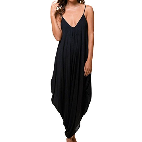 E.JAN1ST Women's Spaghetti Strap Jumpsuit V Neckline Loose Harem One Piece Romper, Black, 14-16