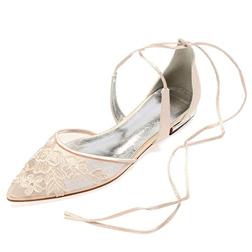 Elobaby Women Satin Spool Wedding Shoes Lace Flower Closed Toe Bridal Mid Silk Dress Party /1.8 cm Heel, Champagne, ()