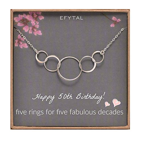 EFYTAL 50th Birthday Gifts for Women, Sterling Silver Five Circle Necklace for Her 5 Decade Jewelry 50 Years Old (Best Birthday Gifts For Mom 50th Birthday)