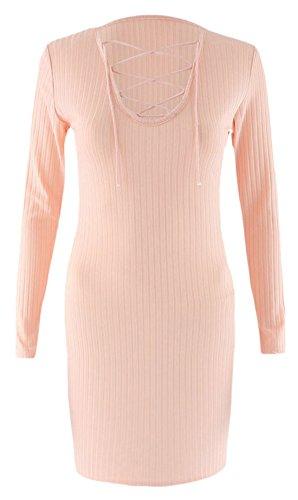 erdbeerloft - Damen Fashion Wollkleid mit Schnürung, Beige, Größe L