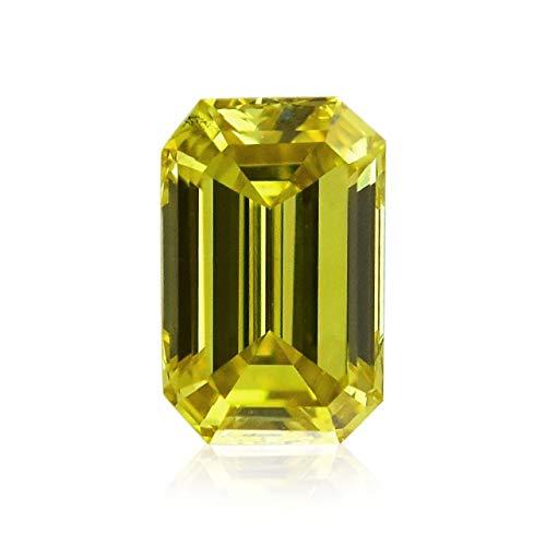 Leibish & Co 0.50 Carat Fancy Deep Yellow Loose Diamond Natural Color Emerald Cut GIA Cert
