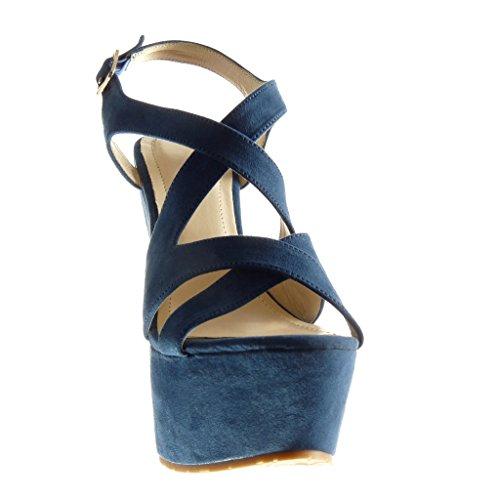 Angkorly - Zapatillas de Moda Sandalias Mules zapatillas de plataforma mujer tanga Talón Plataforma 15 CM - Azul