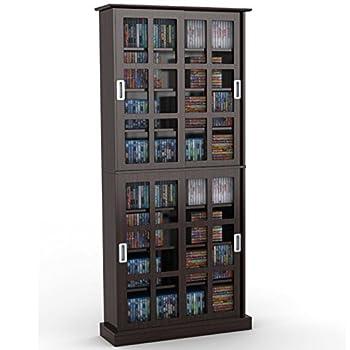 Atlantic Windowpane 720 Multimedia Storage Wood Cabinet in Espresso