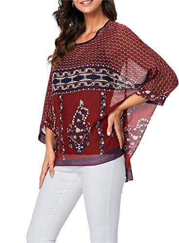 iNewbetter Womens Sheer Blouse Batwing Sleeve Floral Print Chiffon Caftan Poncho Sexy Tunic Tops PB 341 ()