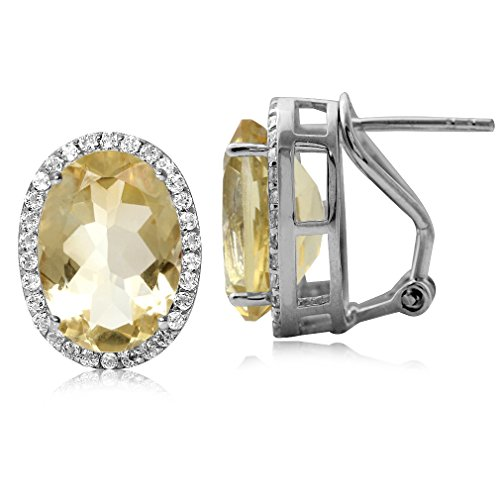 10.06ct. Classic Citrine & White Topaz 925 Sterling Silver Omega Clip Post Earrings