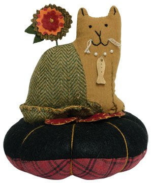 Pin Cushion - Cat Flower - Primitive Country Sewing