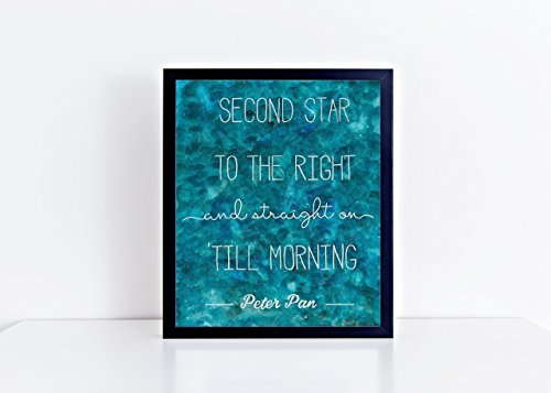 Peter Pan Second Star To The Right 8x10 Watercolor Quote Print - Unframed (Top Paint Colors To A Bedroom)