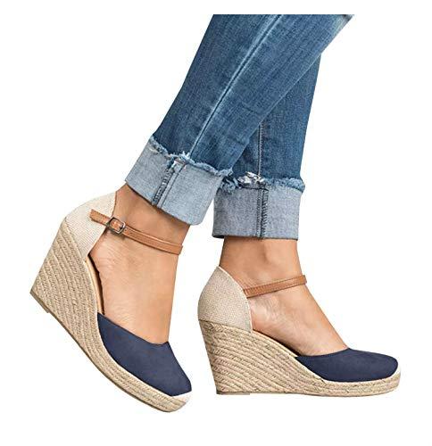 PiePieBuy Womens Espadrille Wedges Ankle Strap Closed Toe Heeled Sandals (7 B(M) US, 1-Navy) -