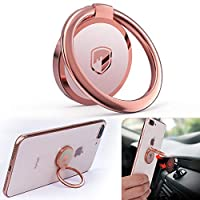 Phone Ring Holder Finger Kickstand – FITFORT 360° Rotation Metal Ring Grip for Magnetic Car Mount Compatible with All Smartphone-Rose Gold