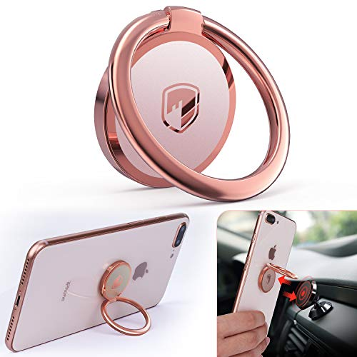 (Phone Ring Holder Finger Kickstand - FITFORT 360° Rotation Metal Ring Grip for Magnetic Car Mount Compatible with All Smartphone-Rose Gold)