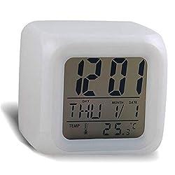 Rukiwa Digital Alarm Thermometer Night Glowing Cube 7 Colors Clock LED Change Fashion