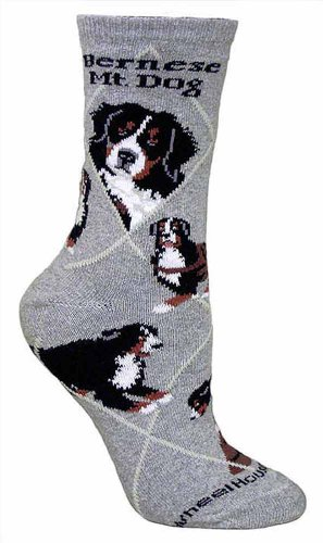 Bernese Mt. Dog Gray Cotton Dog Novelty Socks for Adults 9-11