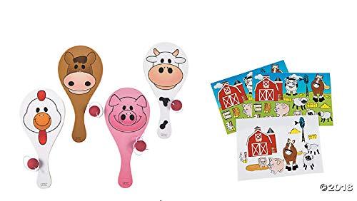 24 FUN Farm Animal Party Favors ~ 1 Dozen(12) Wooden Farm Animal Paddleball Games & 12