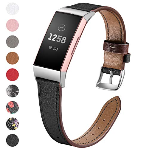 Maledan Compatible with Fitbit Charge 3 Bands Women Men, Genuine Leather Replacement Accessories Watch Strap Compatible with Charge 3 and Charge 3 SE Fitness Activity Tracker, Large Small