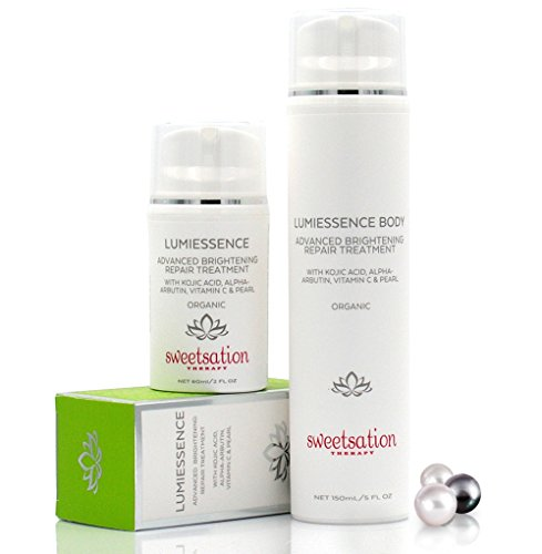 LumiEssence Duo Organic Advanced Brightening Repair Treatments for Face & Body with Kojic Acid, Arbutin & Vitamin C