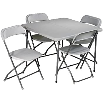 Merveilleux Office Star Resin 5 Piece Folding Chair And Table Set, 4 Chairs And 3