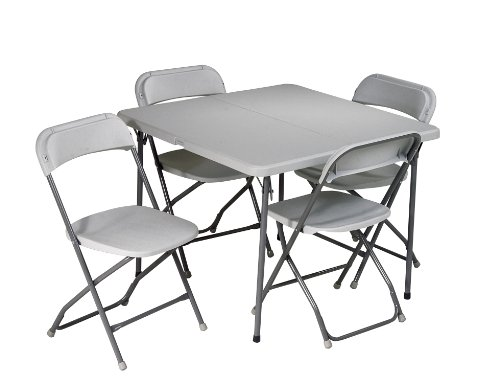 Office Star Resin 5-Piece Folding Chair and Table Set, 4 Chairs and 3-Feet Square Table by Office Star