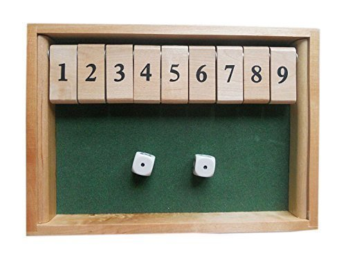 WISDOMTOY Wood Deluxe 9 Number Shut The Box Dice Board Game Toy for Kids and Adults