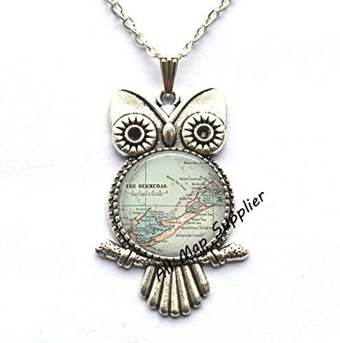 AllMapsupplier Charming Owl Necklace Bermuda map Owl Necklace,Bermuda map Owl Pendant,Bermuda Owl Necklace,Bermuda Owl Pendant,Traveler