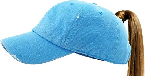 KBETHOS PONY-001 NBLU Ponytail Messy High Bun Headwear Adjustable Cotton Trucker Mesh Hat Baseball Cap