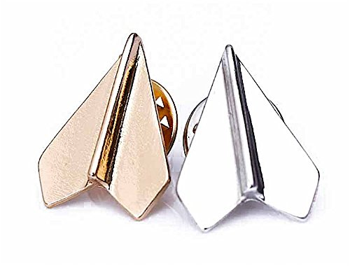 Brand New Set of 2 Platinum Plated Paper Airplane Origami Brooch Lapel Pins (Silver & (Day Platinum Roller Ball)