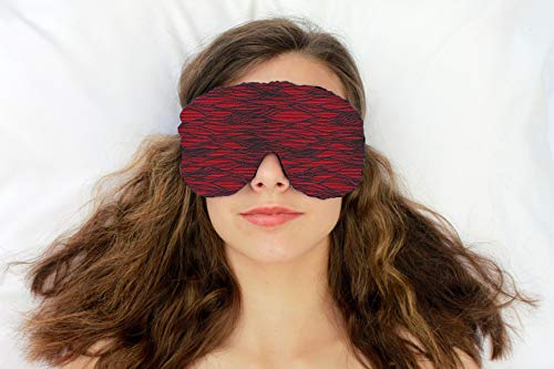 Weighted Sleep Eye Mask Pillow Handmade by Candi Andi - Adjustable Strap - Travel - Flax Seed Filled - Unscented or Lavender Scented - Satin Brocade and Crushed Velvet - Razzle Dazzle Red - TEMF-RR ()