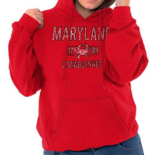 Maryland Crab Vintage Gym Workout Americana Hoodie Red