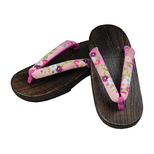 C Sandals Geta Ez Japanese Women's Floral Wooden Clogs pink Shoes Traditional sofei x8qCw807z