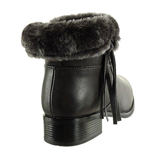 Bloc Talon Zip Bottine Femme Mode 5 Angkorly Fermeture Chaussure CM Fourrure 3 Int Cavalier Haut Frange gWcFzfPAnH