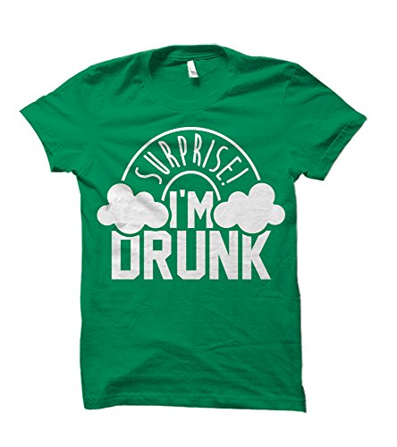 Surprise I'm Drunk Rainbow ST. Patrick's Day Humorous Adult T-Shirt (Large, Irish Green) (Im Drunk Green T-shirt)