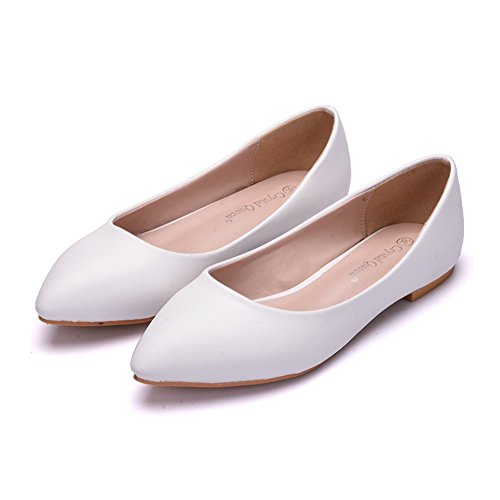 ZPL Womens Bridal Shoes For Bride Women Bridesmaid White Slip On Wedding Glitter Loaders Ladies Ballet Flats Pumps Size 35-42 White DriYfZz