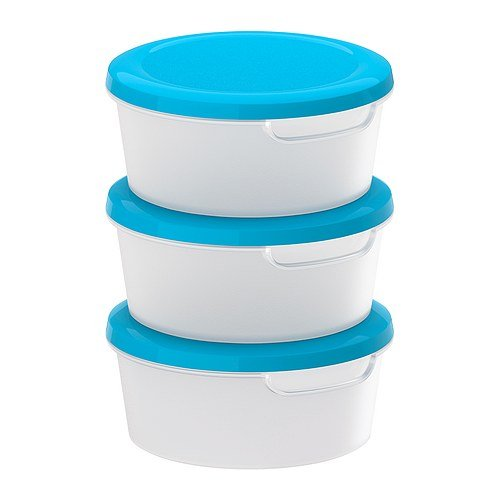 IKEA JAMKA - Food container, transparent white, blue / 3 pack - 0.5 l