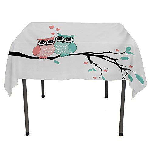 All of better Teal and White Picnic Cloth Cute Owl Couple Sitting on Tree Branch Valentines Romance Love Turquoise Coral Black wayerproof Table Cloth Spring/Summer/Party/Picnic 60 by 84
