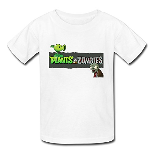 Kid's Funny Plants Vs. Zombies T-shirts Size S White By Mjensen
