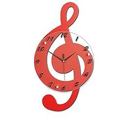 Magshion 3D Red Music Shape Decor Wall Clock W/ Wall Hooks 20.5L 11.4W