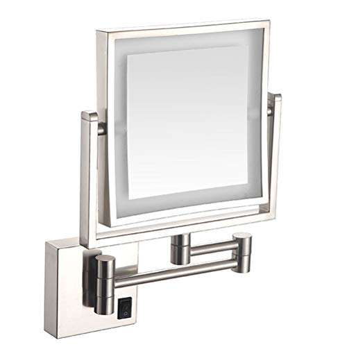 Square Double-Sided LED Mirror 3 Times 360 Degree Rotation Collapsible Telescopic Mirror -
